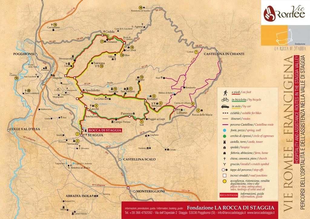 Mappa dell'ospitalità nella Valle di Staggia